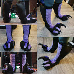 Blk  Purple Raptor Knee-High Feetpaws Commission