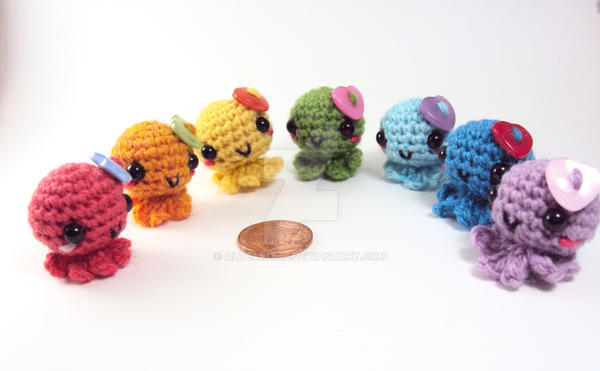 Mini Amigurumi Octie Family - Pastel Set by altearithe