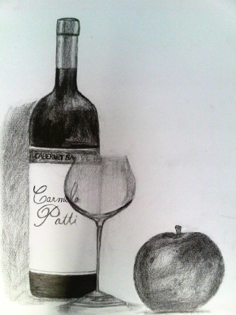 Botella de vino, copa, y manzana en dibujo grafito by EnriqueNg