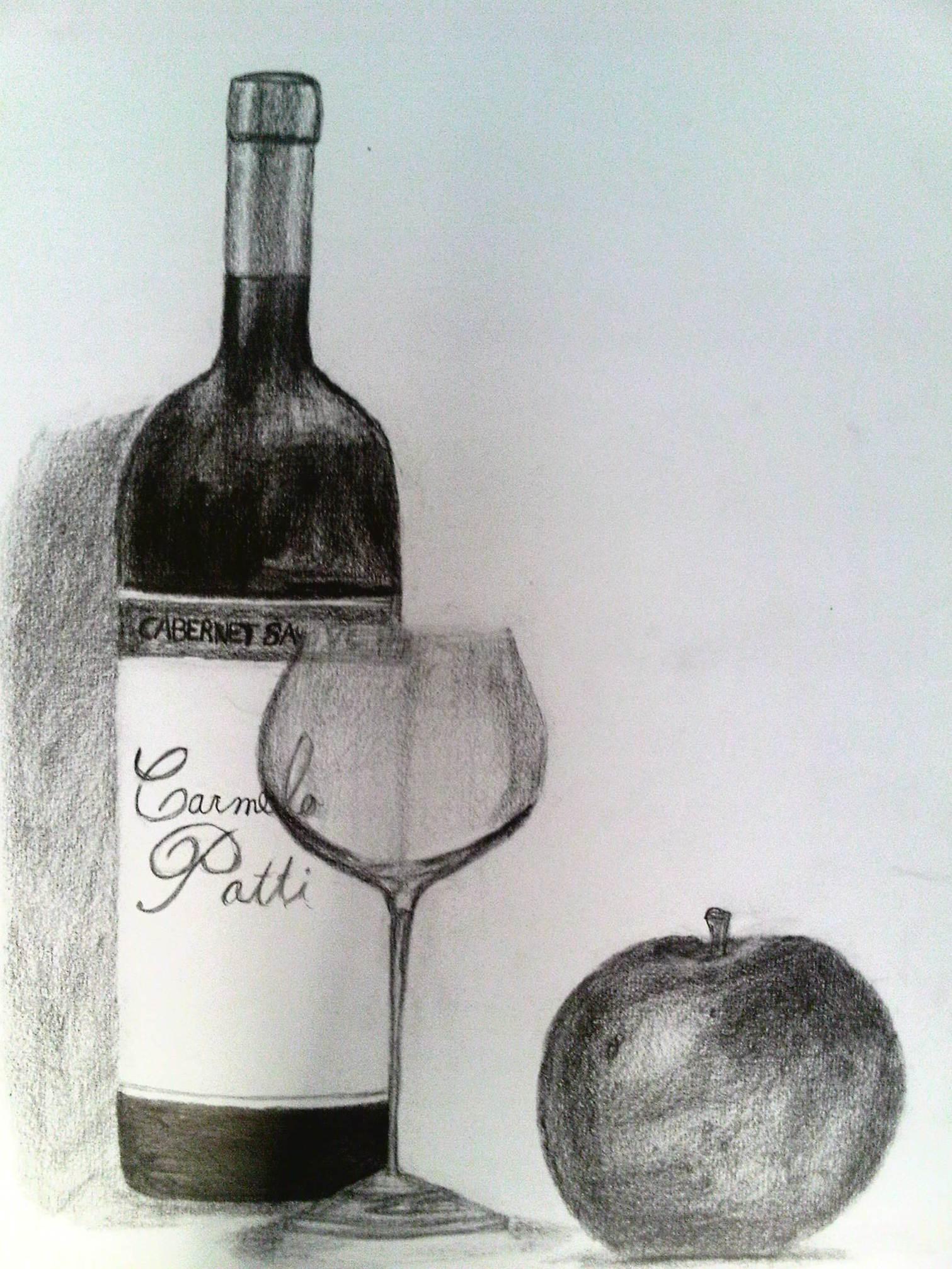 Botella de vino copa y manzana en dibujo grafito by for Tipos de copas