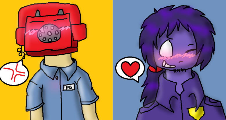 Phone guy x purple guy by wolfybay9r9r on deviantart