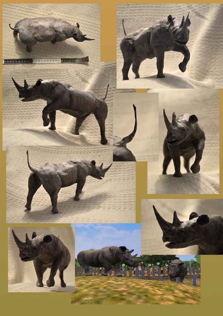 Black Rhinoceros Paper Model by DrWheelieMobile