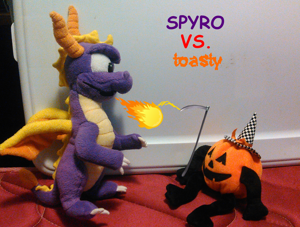 Spyro Vs. Toasty (Plush Photo) by TwistedDarkJustin