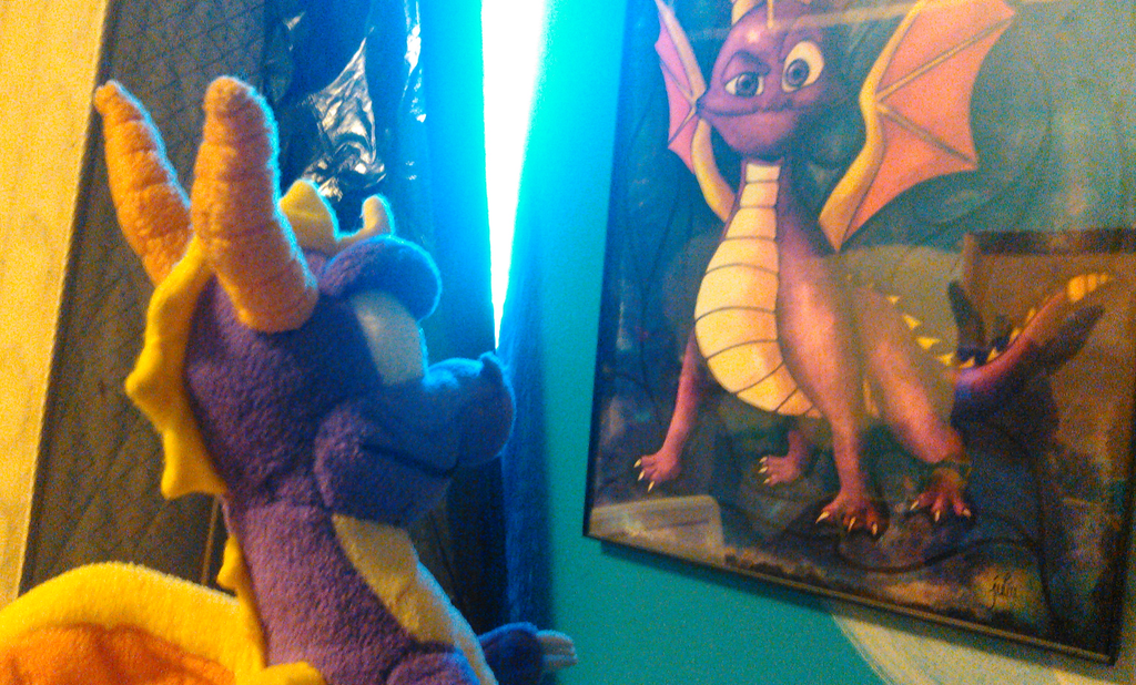 Spyro Looking At His Portrait by TwistedDarkJustin