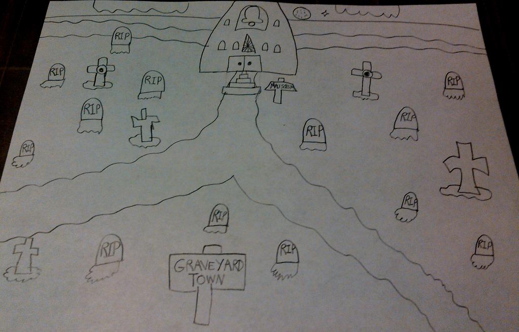 Graveyard Town (Sketch) by TwistedDarkJustin