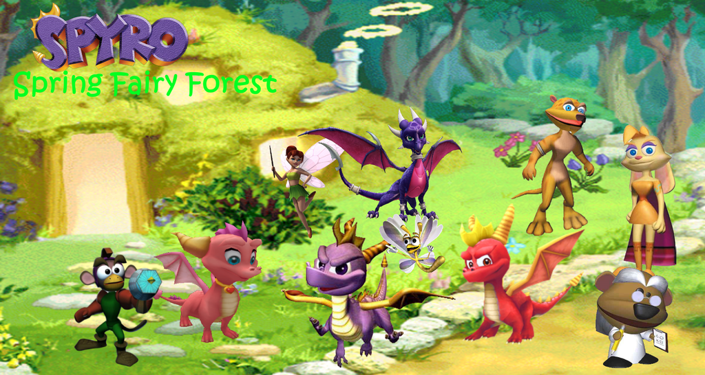 Spyro - Spring Fairy Forest (Collage) by TwistedDarkJustin