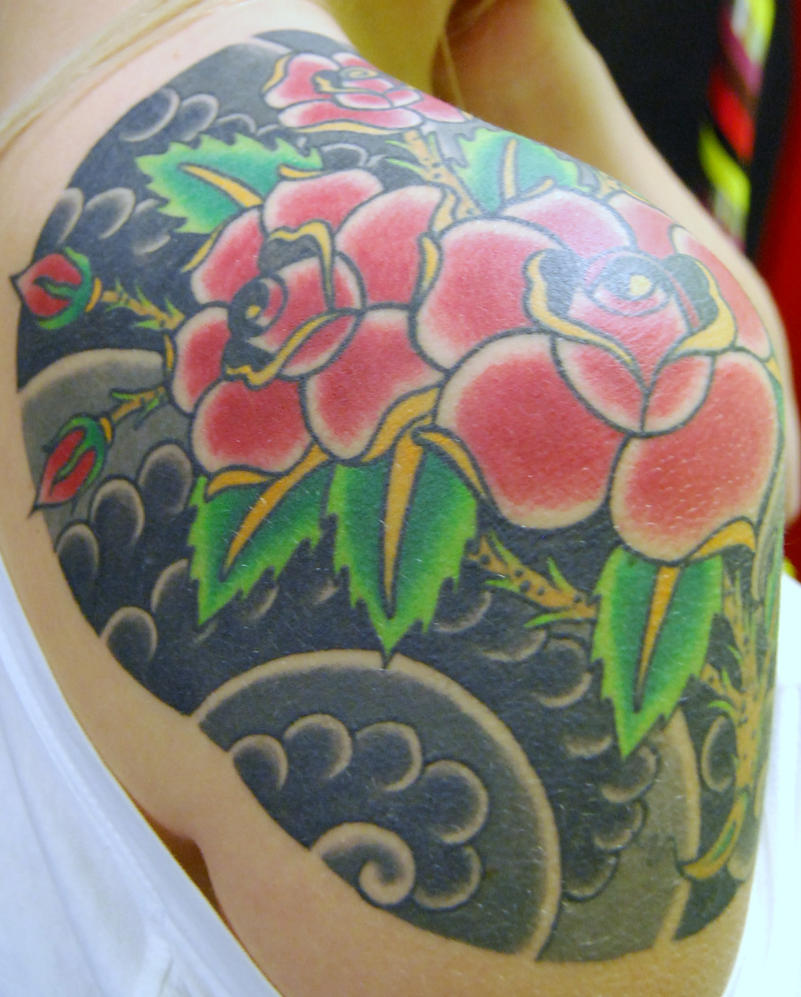traditional rose shoulder - shoulder tattoo