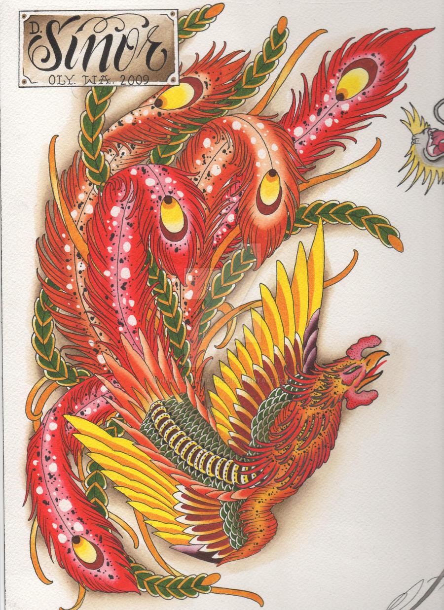 Phoenix painting by newtskewltattoo