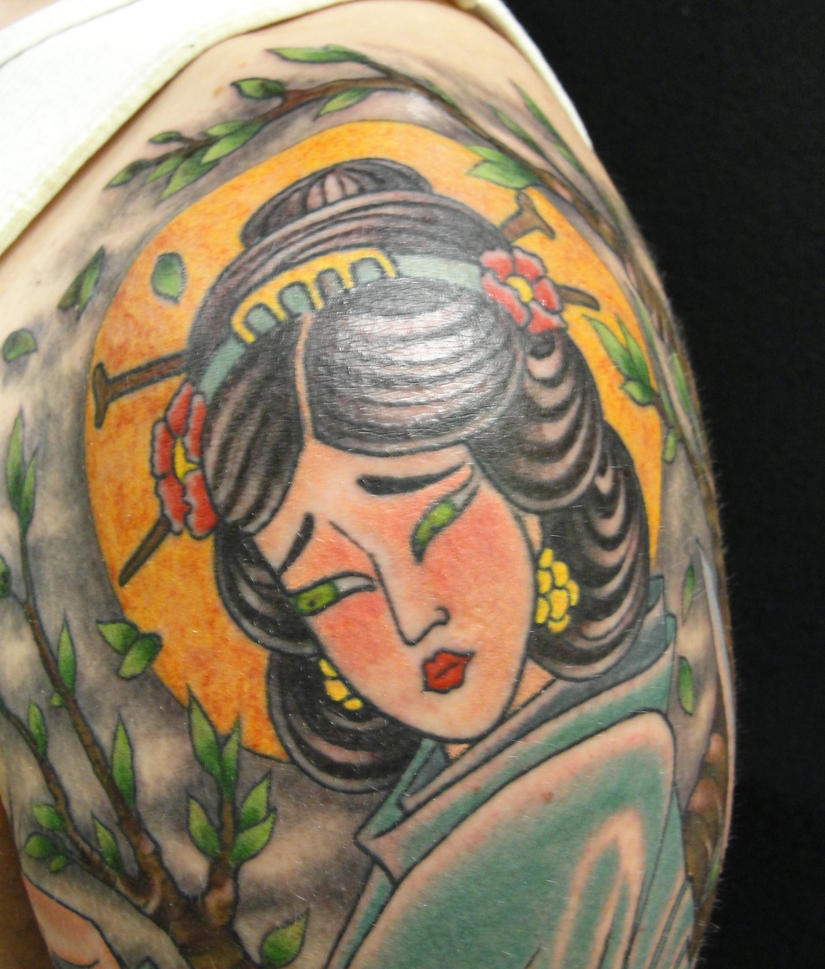 Geisha shoulder cap finished 6 - shoulder tattoo