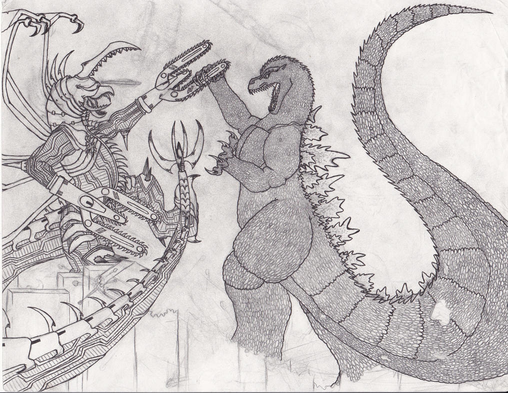 Dibujos Godzilla Raids Again 1955 Para Colorear: Godzilla VS Gigan FW Sketch By BurningG