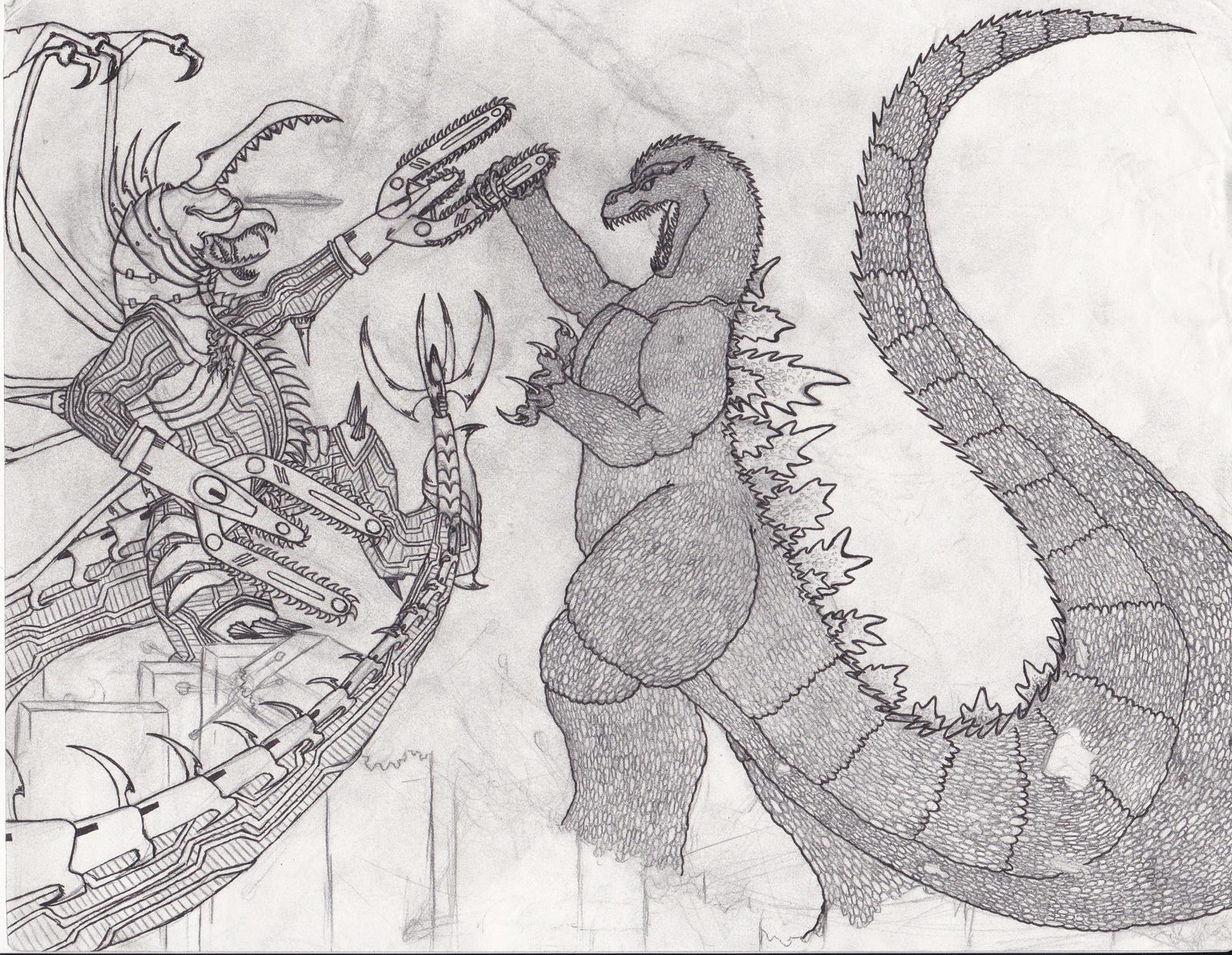 art trade 1 godzilla vs gigan fw sketch by burningg hellonearth
