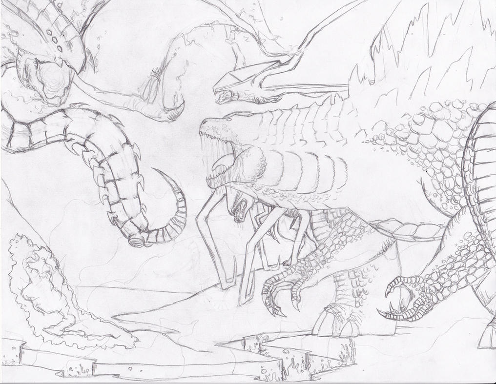 The Top of a Primordial Ecosystem Sketch by BurningG-HellOnEarth