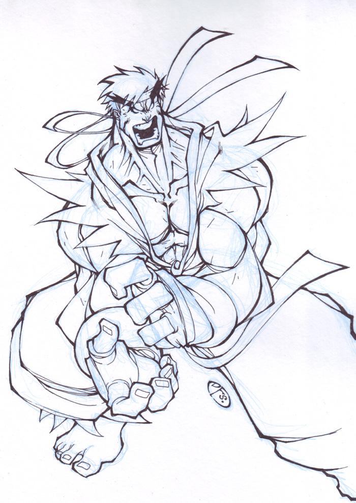 evil ryu sketch by dawidfrederik on deviantart