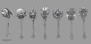 Darksiders II weapon concepts Maces 1