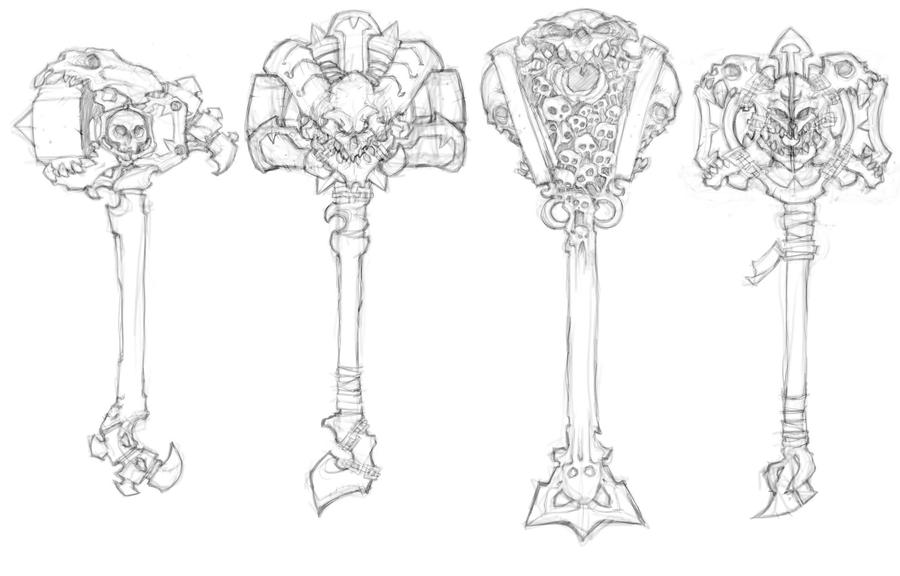Darksiders II weapon concepts Hammers 4 by DawidFrederik