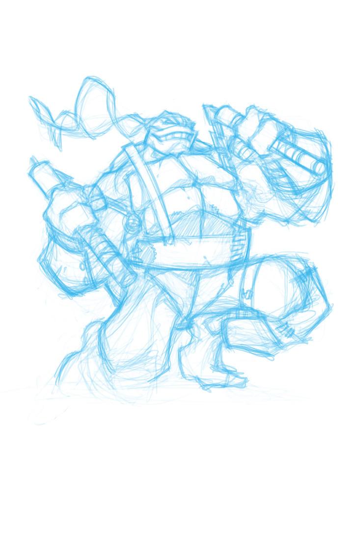TMNT Mikey Warm up sketch by DawidFrederik