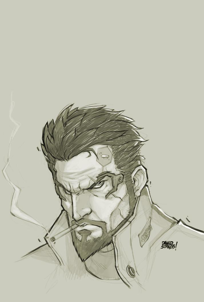 Adam Jensen Bust sketch by DawidFrederik