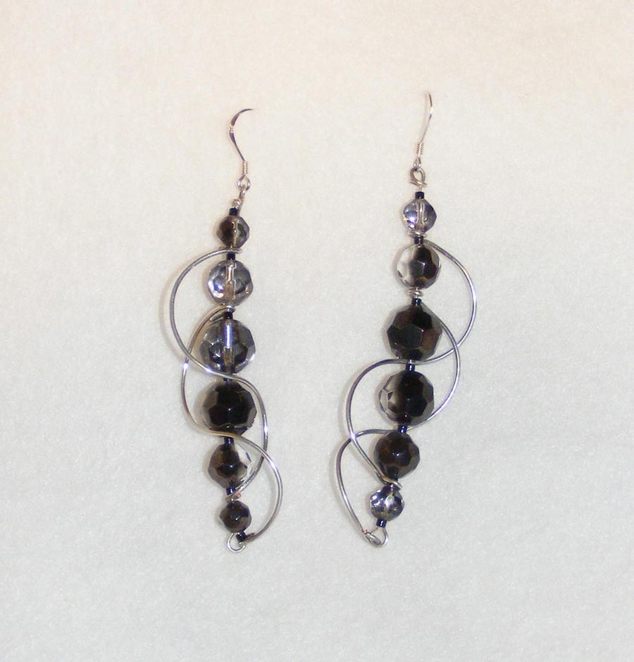 wire beaded earrings by madamravendesigns on deviantart