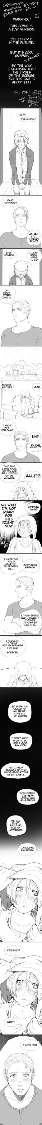 Spamano doodle-story 25 part4 (B/W) by mitssuki