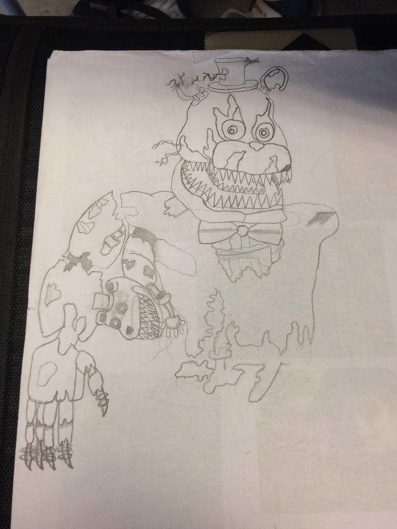 Nightmare Freddy Drawing by Dragonoisus