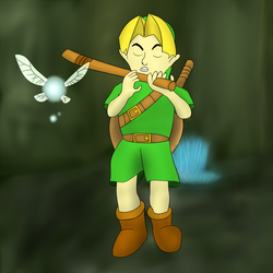 Link playing a stick