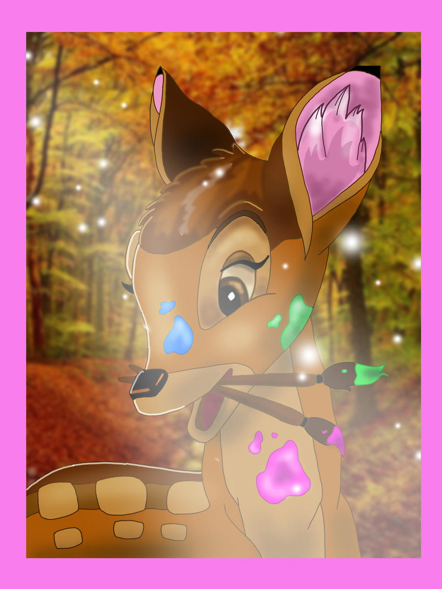 Bambi and his paintskills by Melevy
