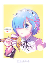 Rem eating Ramen? by atadtoad