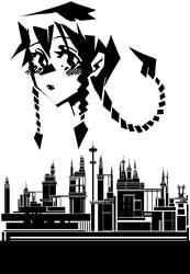 Scorpion Girl and a City