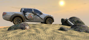 The car and the desert - 3D