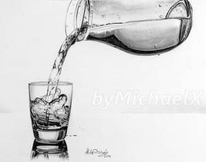 Drawing pencil pouring a glass of water