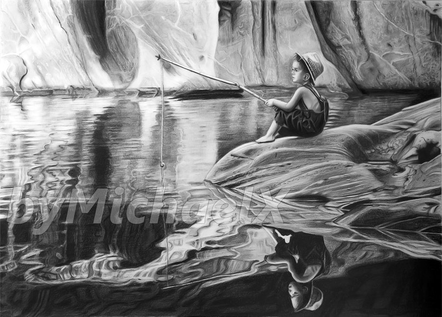 Drawing pencil - young boy fishing by byMichaelX