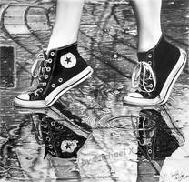 Pencil drawing - shoes in the rain