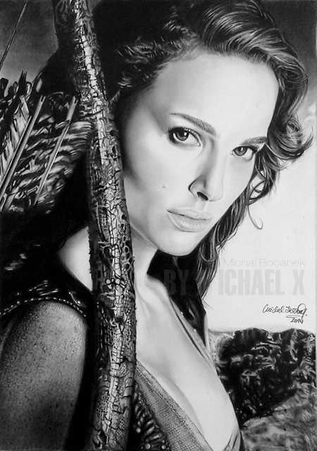 Pencil Drawing Natalie Portman by byMichaelX