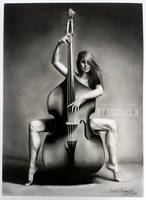 Pencil drawing Woman and the Bass by byMichaelX