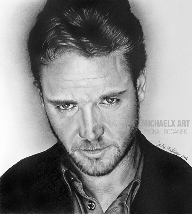Pencil drawing - Russell Crowe by byMichaelX