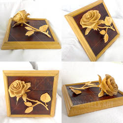Rose carved of wood complete (Daily Deviation)