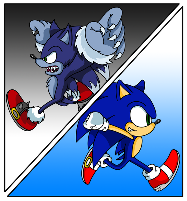 Sonic and Weresonic Colored by sonictopfan