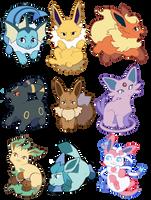 eeveelution stickers! by f1owerhound