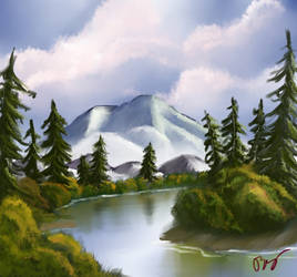 Bob Ross-style landscape painting, 2nd attempt by tomimt