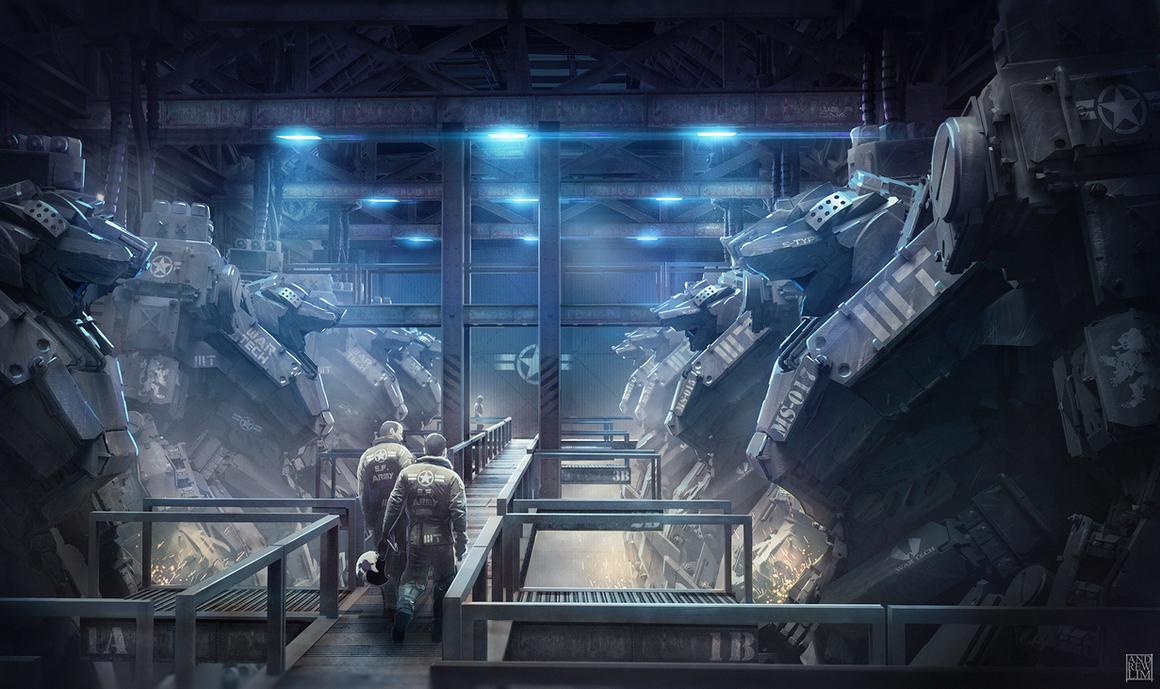 War Tech Mech Hangar By Andrew Lim On Deviantart