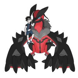 Commission - Pokemon Trainer + Yveltal by seto