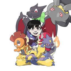 Commission - Pokemon Trainer + Team! by seto