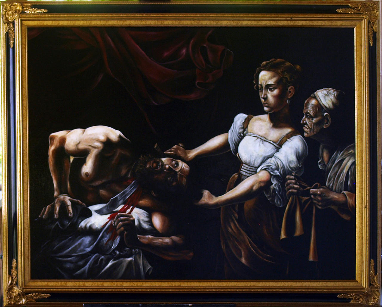 caravaggio judith beheading holofernes Left: caravaggio, judith beheading holofernes, 1598-99, oil on canvas,  the uffizi judith slaying holofernes is artemisia's second telling of this narrative.