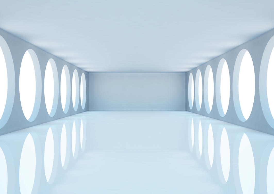 Empty white room with columns and windows 3d illus by for White room wallpaper