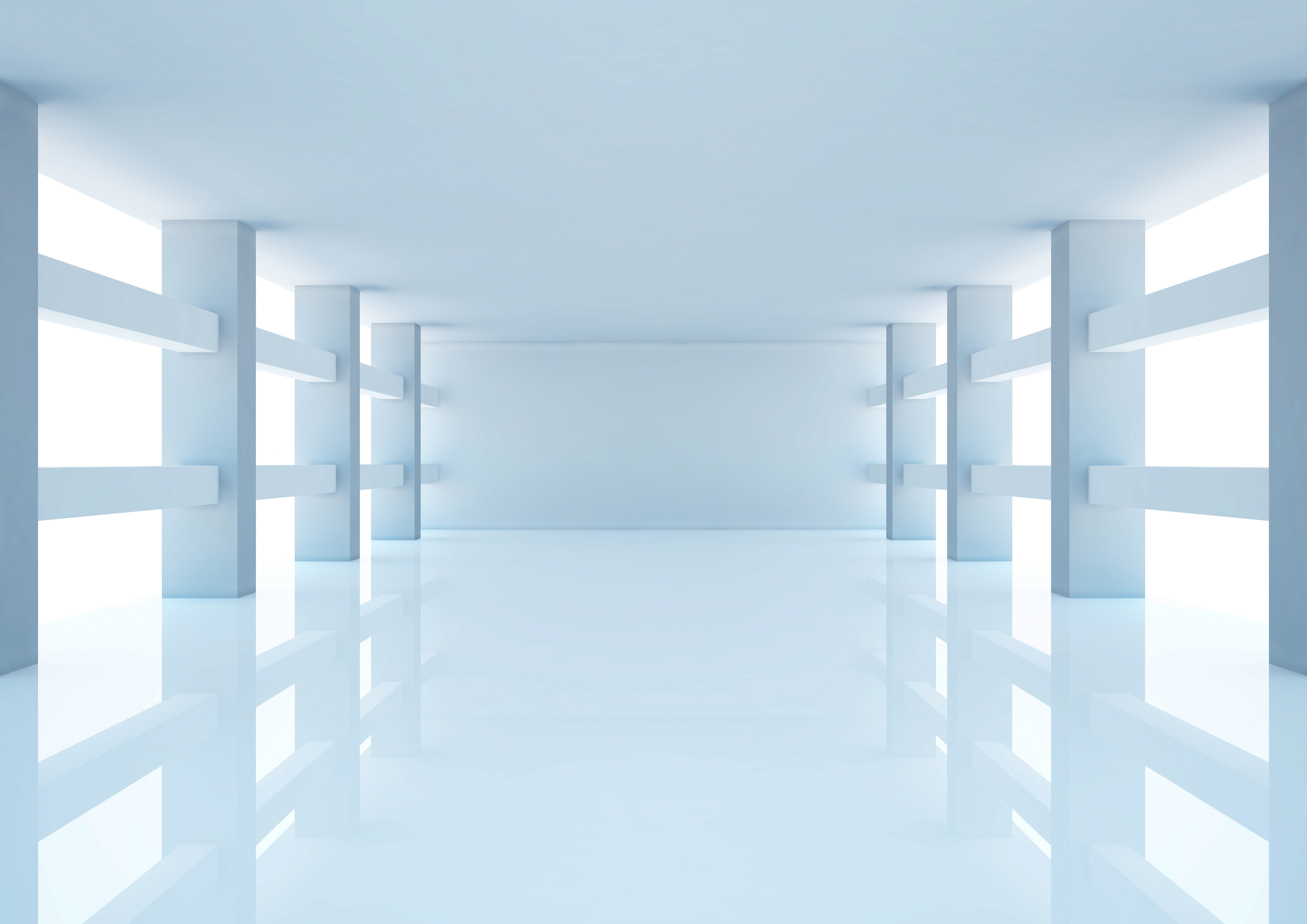 Empty white room with columns and windows 3d illus by winampers ...
