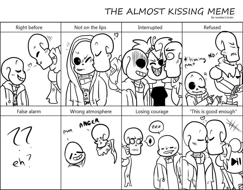 Almost kissing meme with sans and PAPYRUS