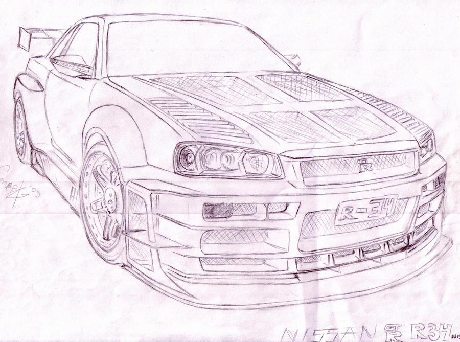 Nissan Skyline Sketch Nissan Skyline R34 Sketch by