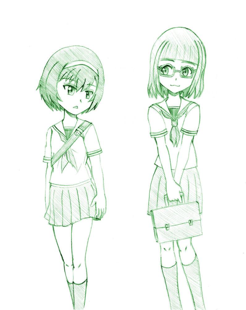 Mako and Saori (Junior High School 1st year) by ReizeiMako08