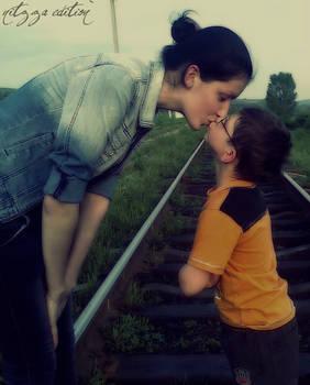 childish kiss..