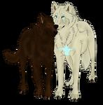 Ammeg and Bannah Wolf - Line art by Wulfghast